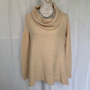 Free People // Cream Oversized Cowl Neck Sweater L